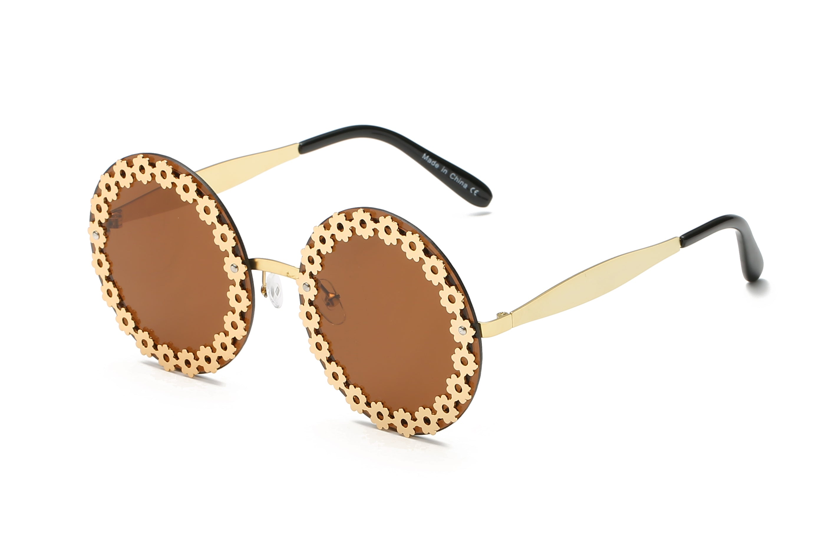 Women Retro Vintage Circle Round Mirrored UV Protection Oversized Fashion Sunglasses - Brown