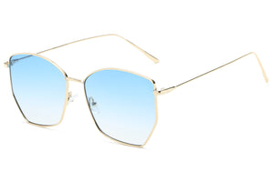 Women Modern Fashion Metal Geometric Square Oversized UV400 Protection Sunglasses - Blue