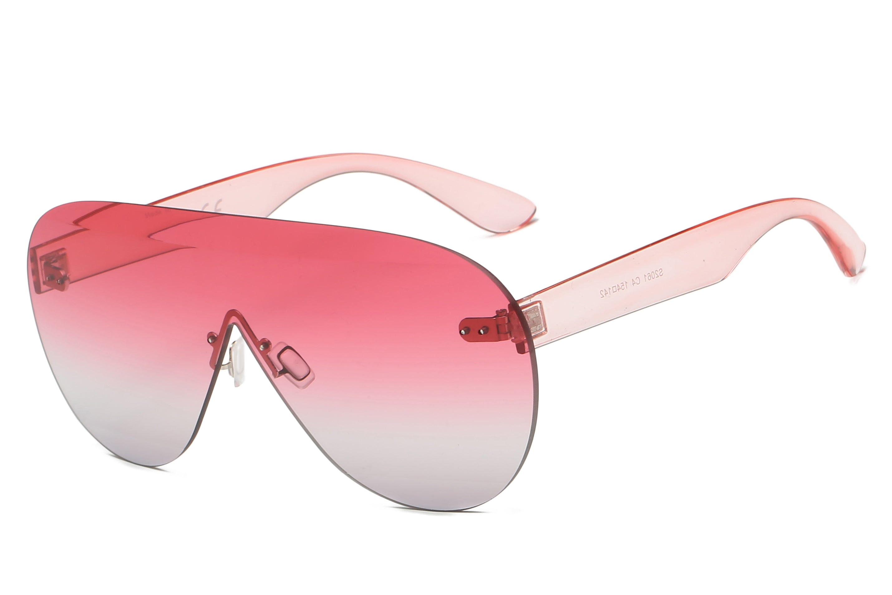 Women Modern Premium Rimless Oversized Aviator Sunglasses - Pink