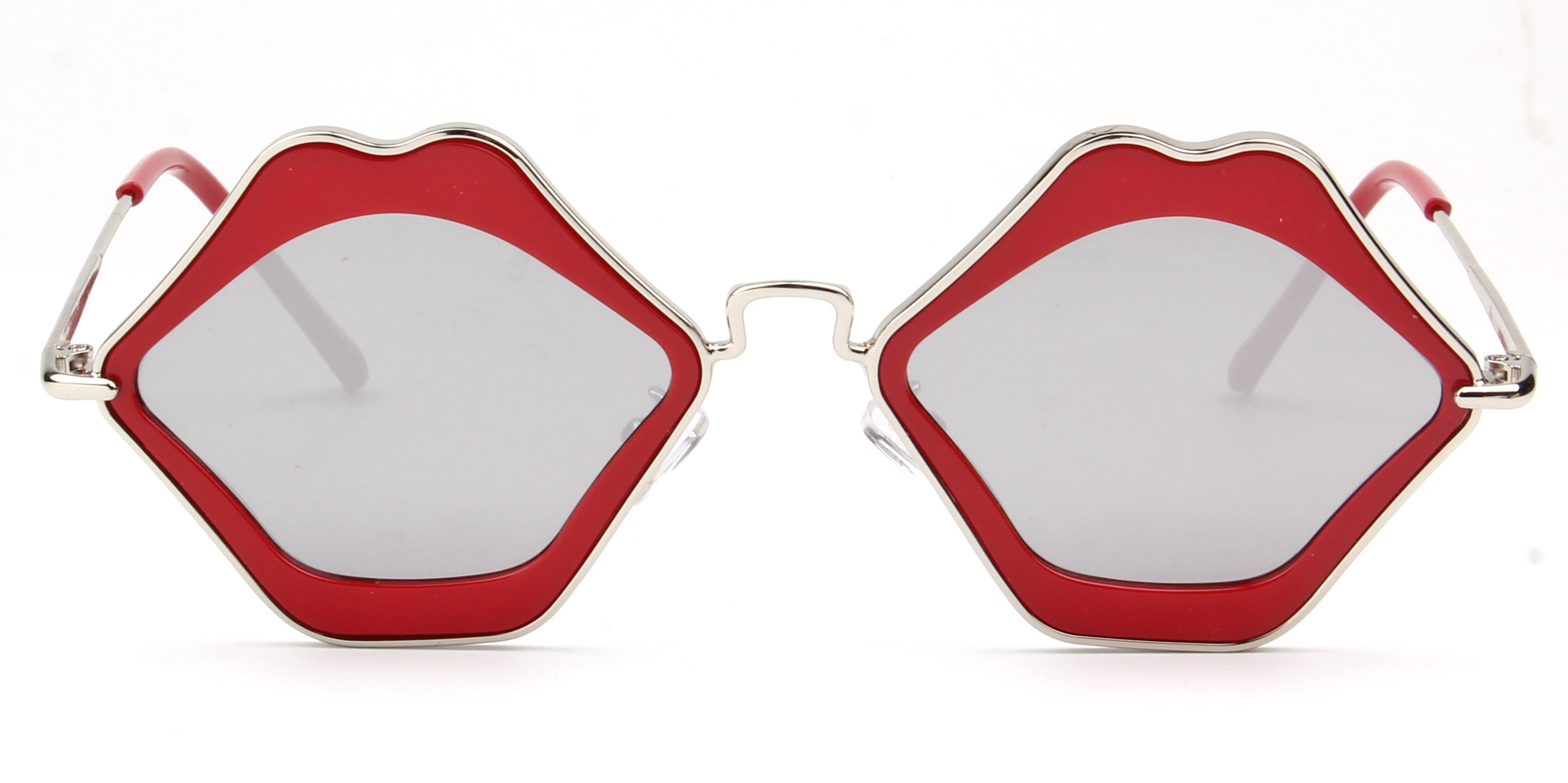 Women Retro Funky Metal Hipster Lips Shape Mirrored UV Protection Fashion Sunglasses - Red