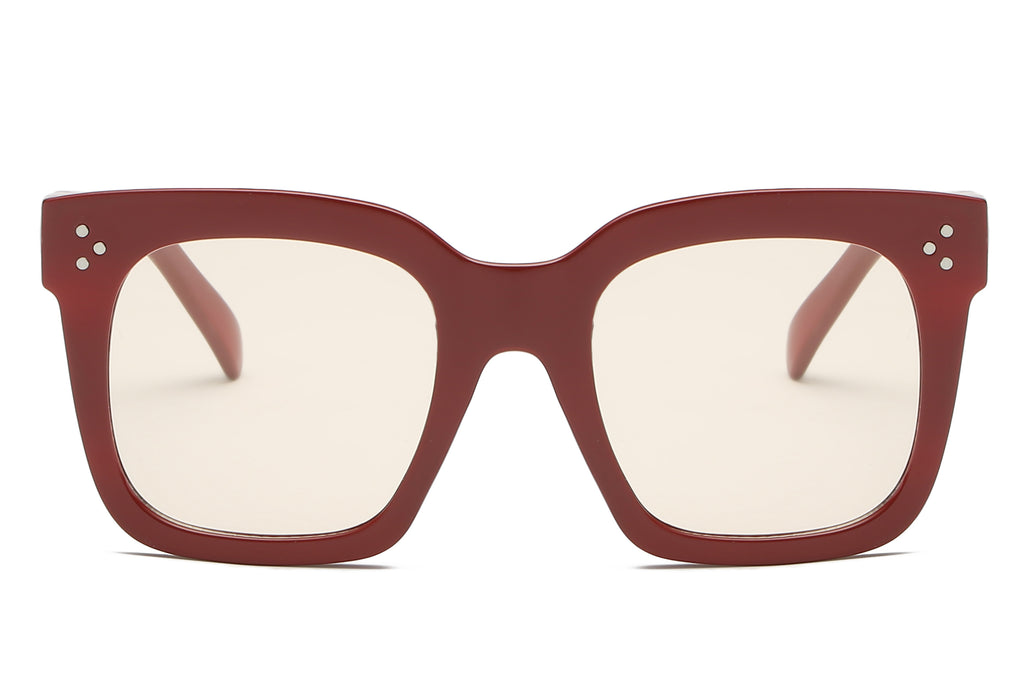 women oversize square fashion sunglasses with maroon frame and clear tinted lens