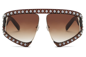 Women Half Frame Shield Rhinestone Pearls Large Oversized UV Protection Fashion Sunglasses - Brown
