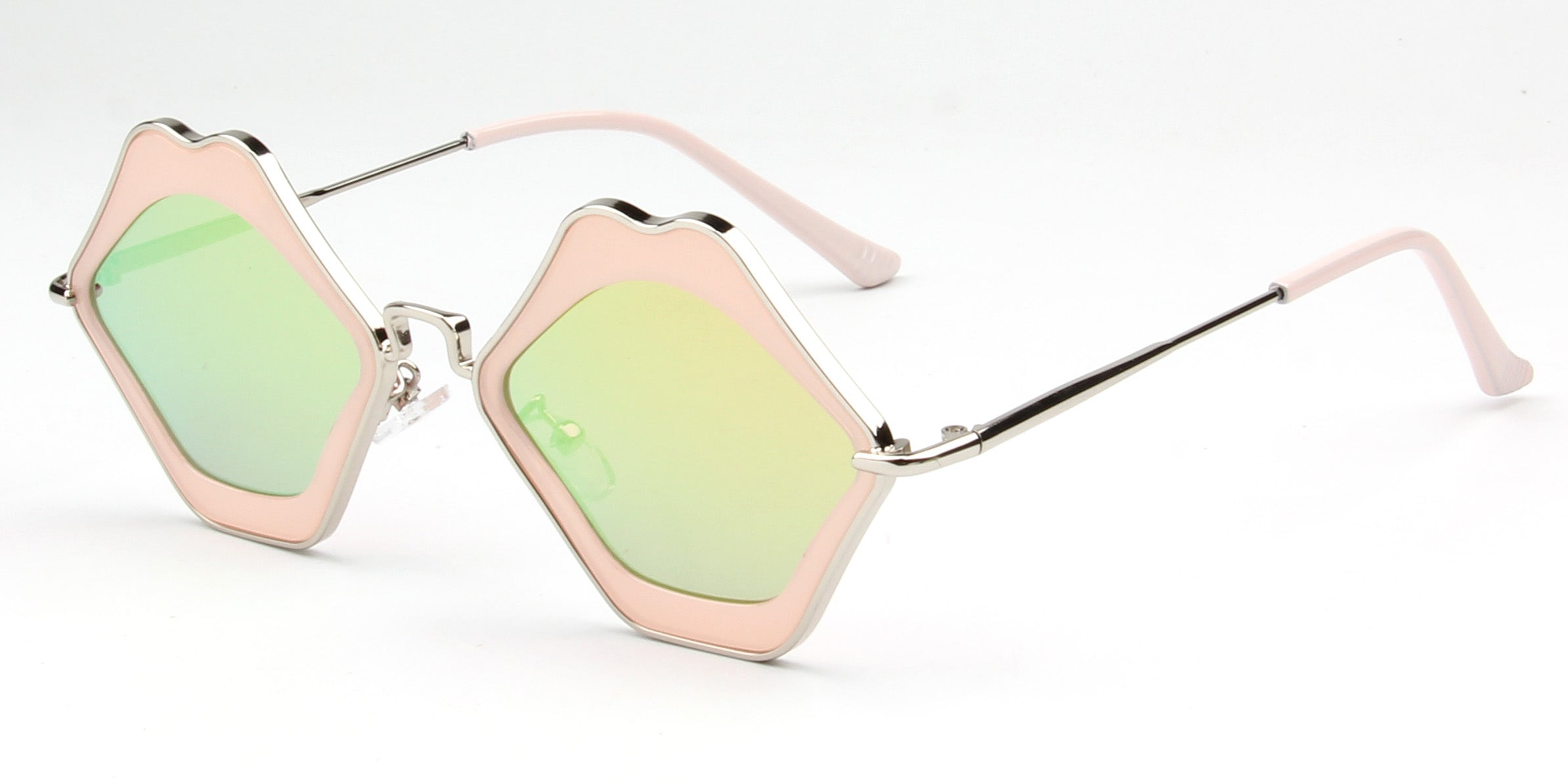 Women Retro Funky Metal Hipster Lips Shape Mirrored UV Protection Fashion Sunglasses - PeachGreen