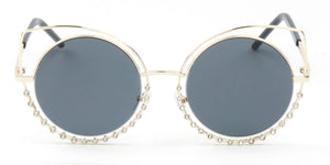 Women Metal Circle Round Rhinestone High Pointed Cat Eye Fashion Sunglasses - Black