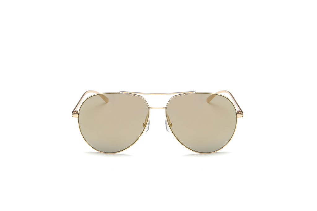 Classic Mirrored Metal Aviator Fashion Sunglasses for Men and Women - Amber