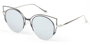 Women Metal Retro Mirrored Round Cay Eye High Pointed UV Protection Fashion Sunglasses - Silver