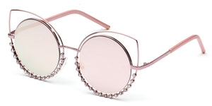 Women Metal Circle Round Rhinestone High Pointed Cat Eye Fashion Sunglasses - Pink