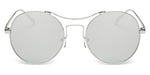 Women Metal Retro Circle Round Brow-Bar Mirrored UV Protection Fashion Sunglasses - Grey