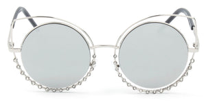 Women Metal Circle Round Rhinestone High Pointed Cat Eye Fashion Sunglasses - Silver