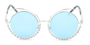 Women Metal Circle Round Rhinestone High Pointed Cat Eye Fashion Sunglasses - Blue