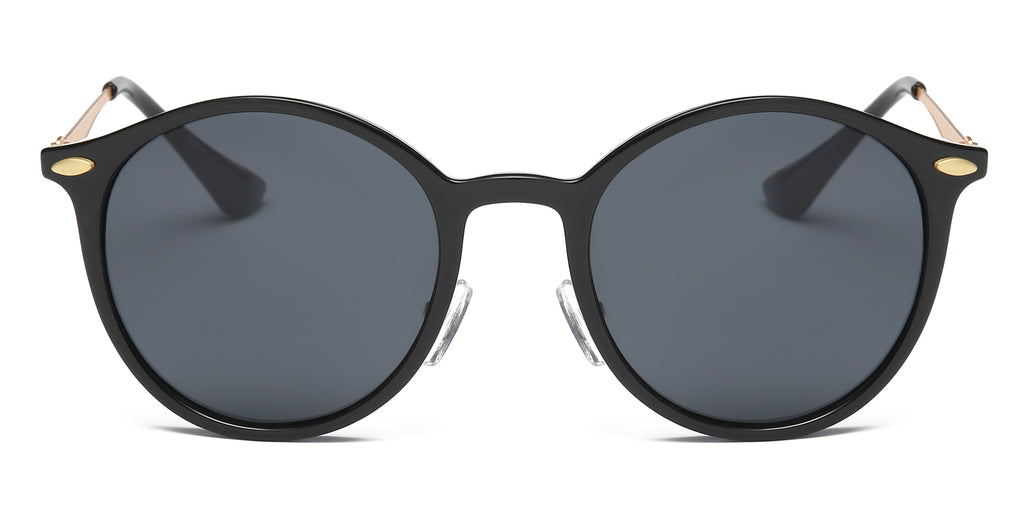 Retro Vintage Circle Round Mirrored UV Protection Fashion Sunglasses for Men and Women - Black