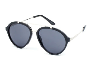 Women Mirrored Round Fashion Sunglasses - Black