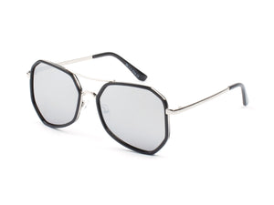 Women Mirrored Oversized Fashion Sunglasses - Grey