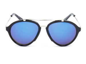 Women Mirrored Round Fashion Sunglasses - Blue