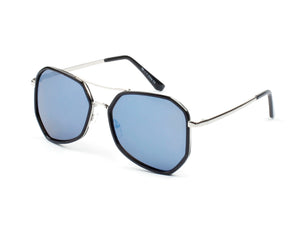 Women Mirrored Oversized Fashion Sunglasses - Blue