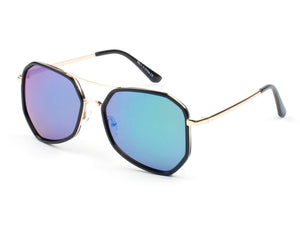 Women Mirrored Oversized Fashion Sunglasses - PurpleGreen