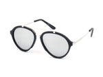Women Mirrored Round Fashion Sunglasses - Grey