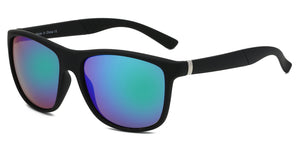 Akcessoryz-Men round sunglasses with green lens and black frame