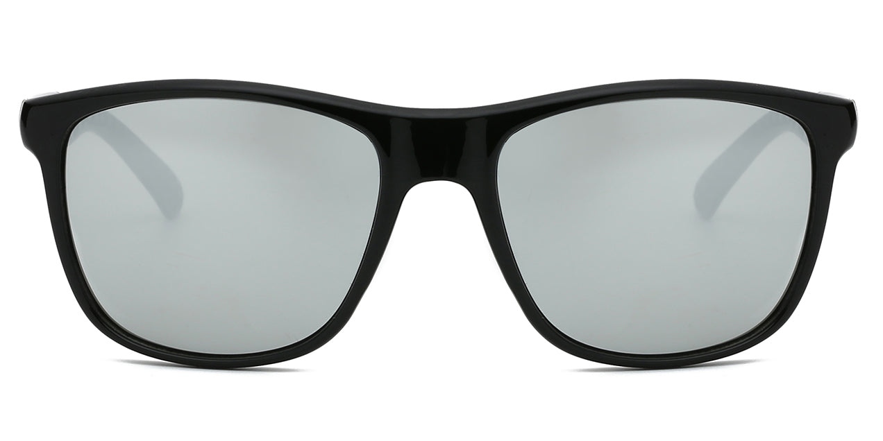 Akcessoryz-Men round sunglasses with grey lens and black frame