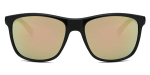 Akcessoryz-Men round sunglasses with orange lens and black frame