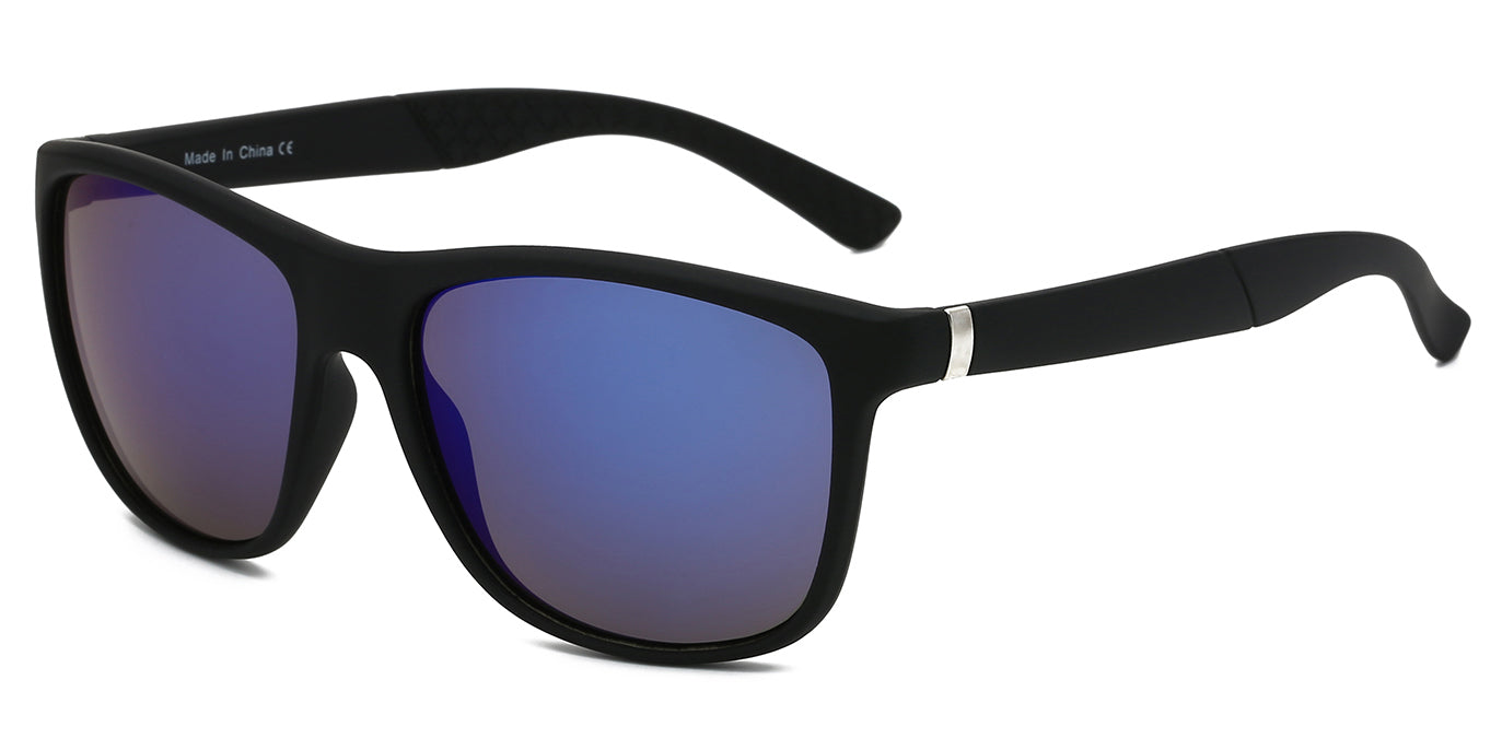 Akcessoryz-Men round sunglasses with purple lens and black frame