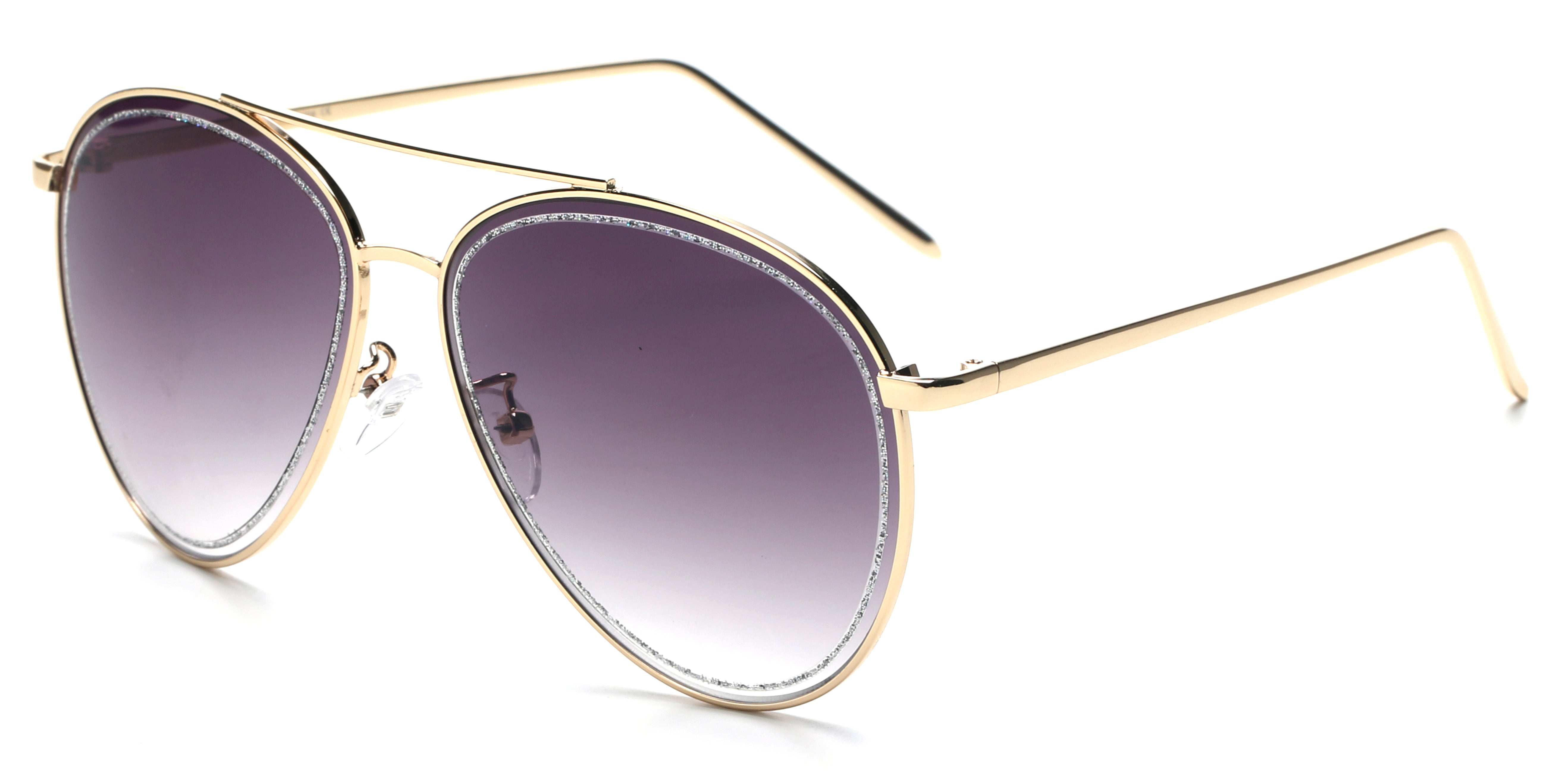 Women Metal Classic Glitter Fashion Aviator Sunglasses - Gradient Purple