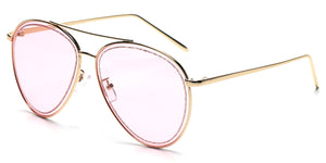 Women Metal Classic Glitter Fashion Aviator Sunglasses - Pink