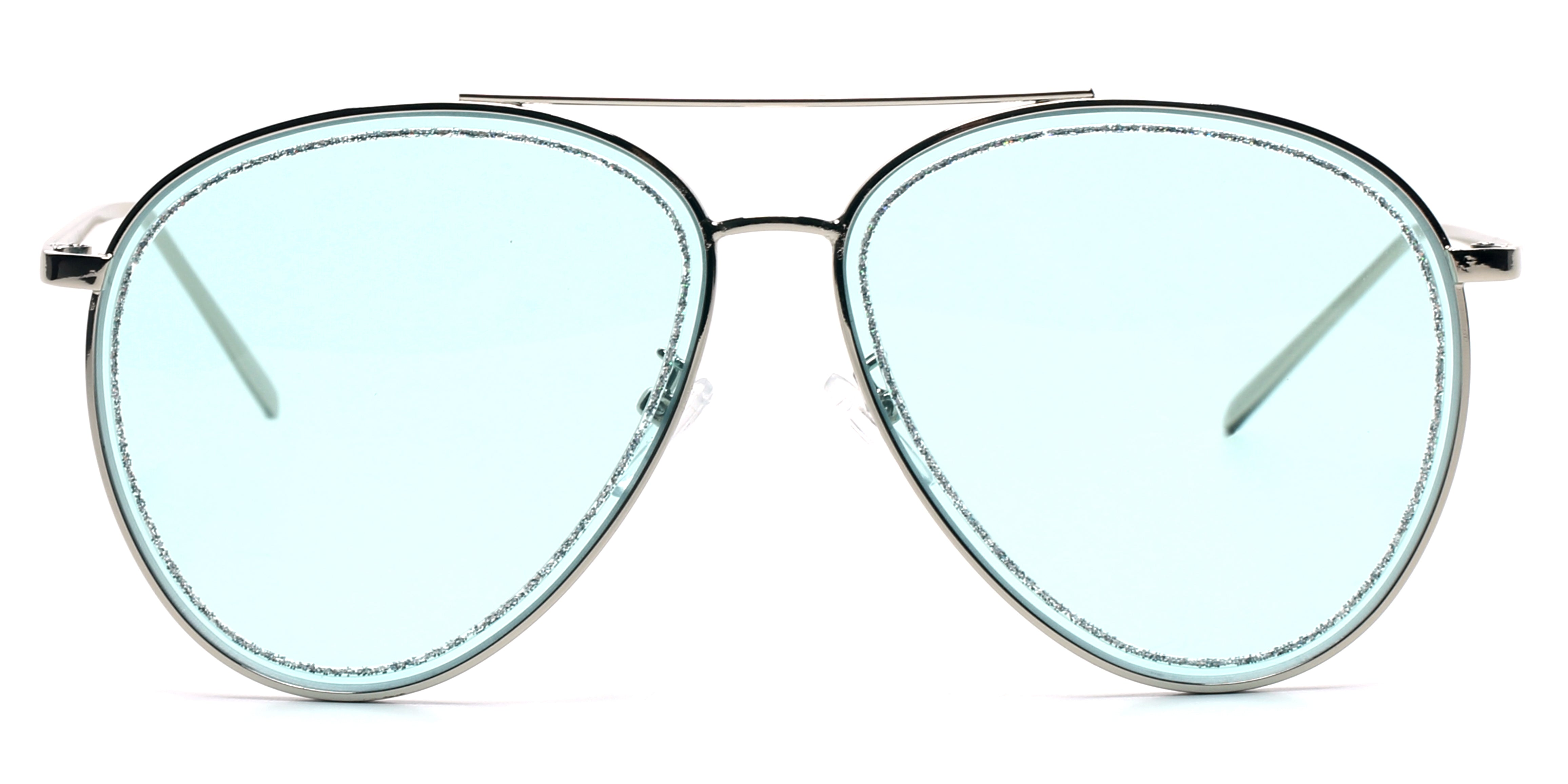 Women Metal Classic Glitter Fashion Aviator Sunglasses - Blue