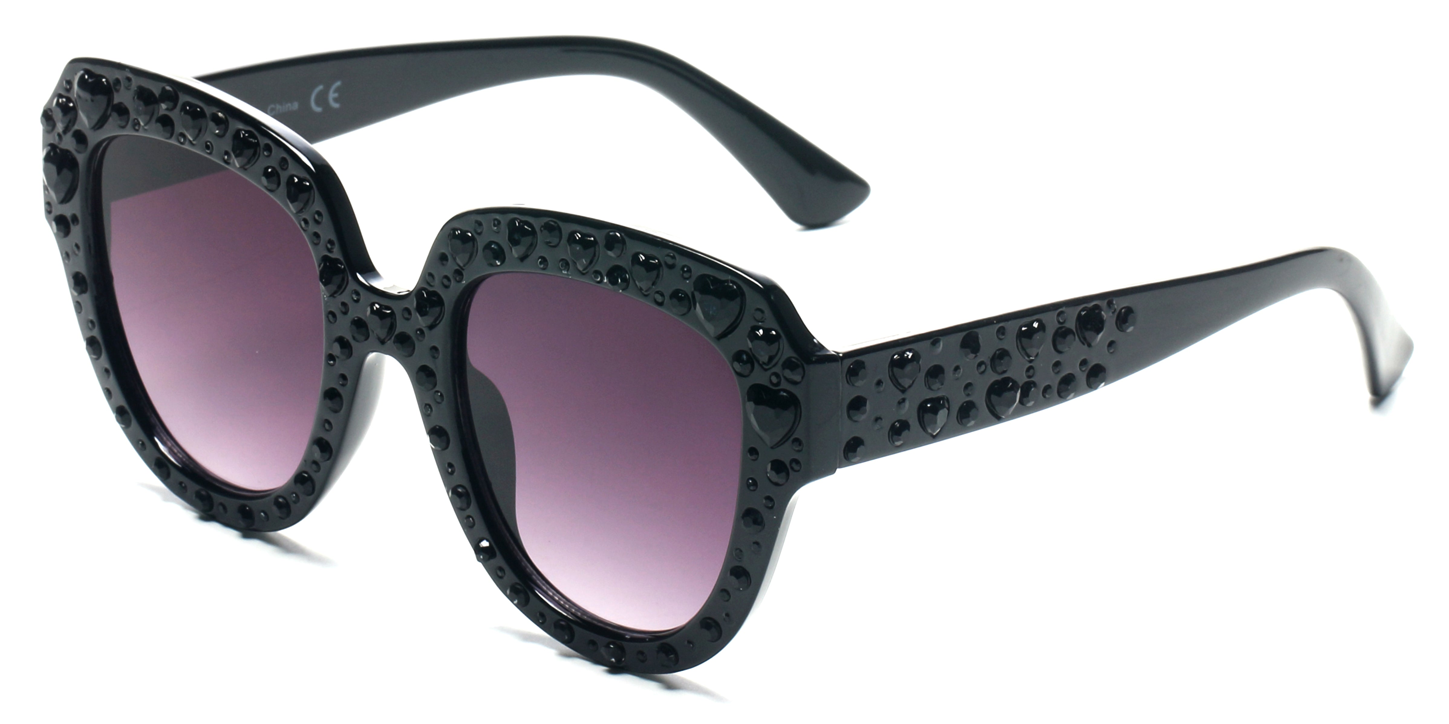 Women Retro Bold Rhinestone Round Cat Eye UV Protection Fashion Sunglasses - Black