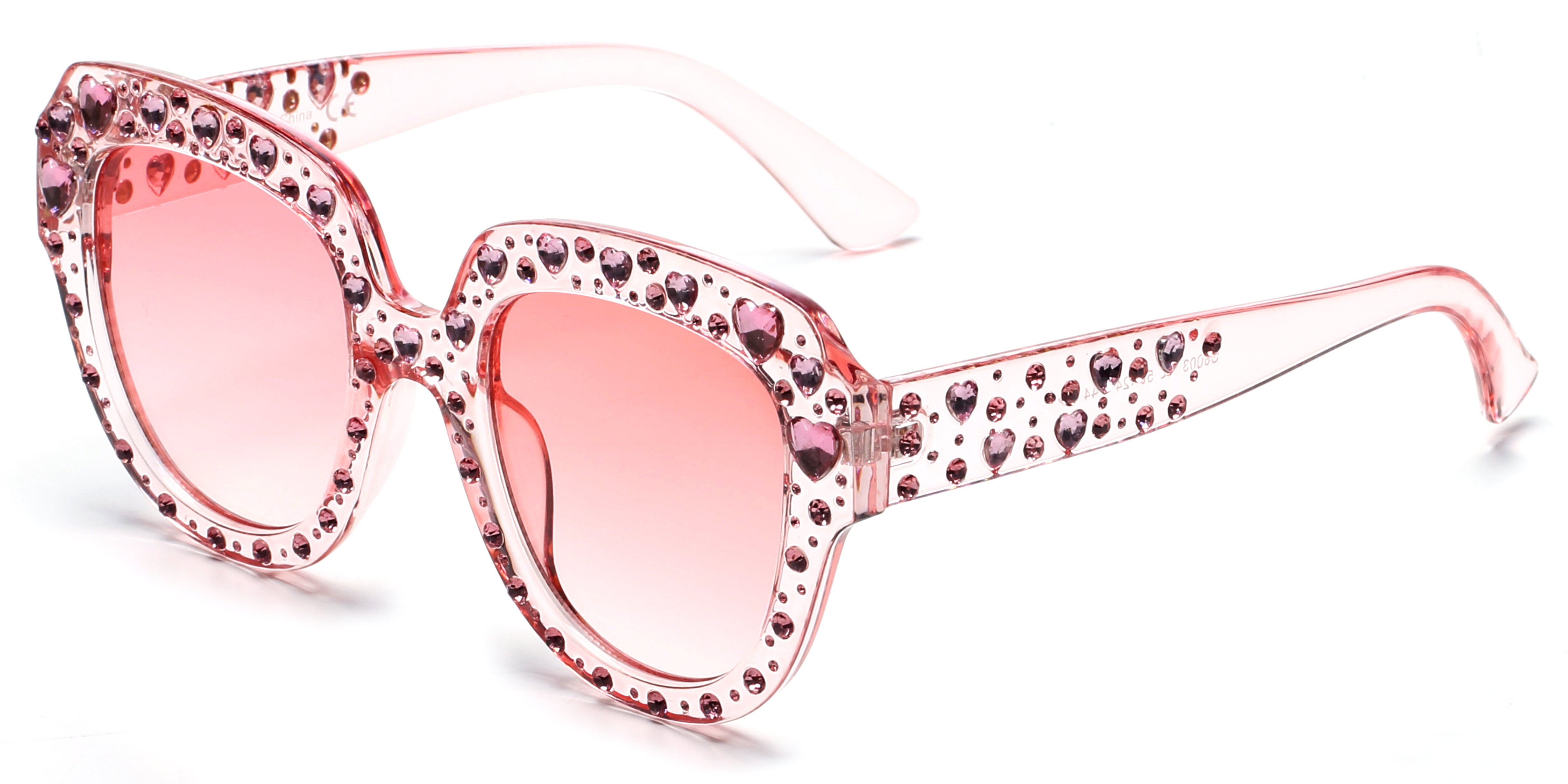 Women Retro Bold Rhinestone Round Cat Eye UV Protection Fashion Sunglasses - Pink