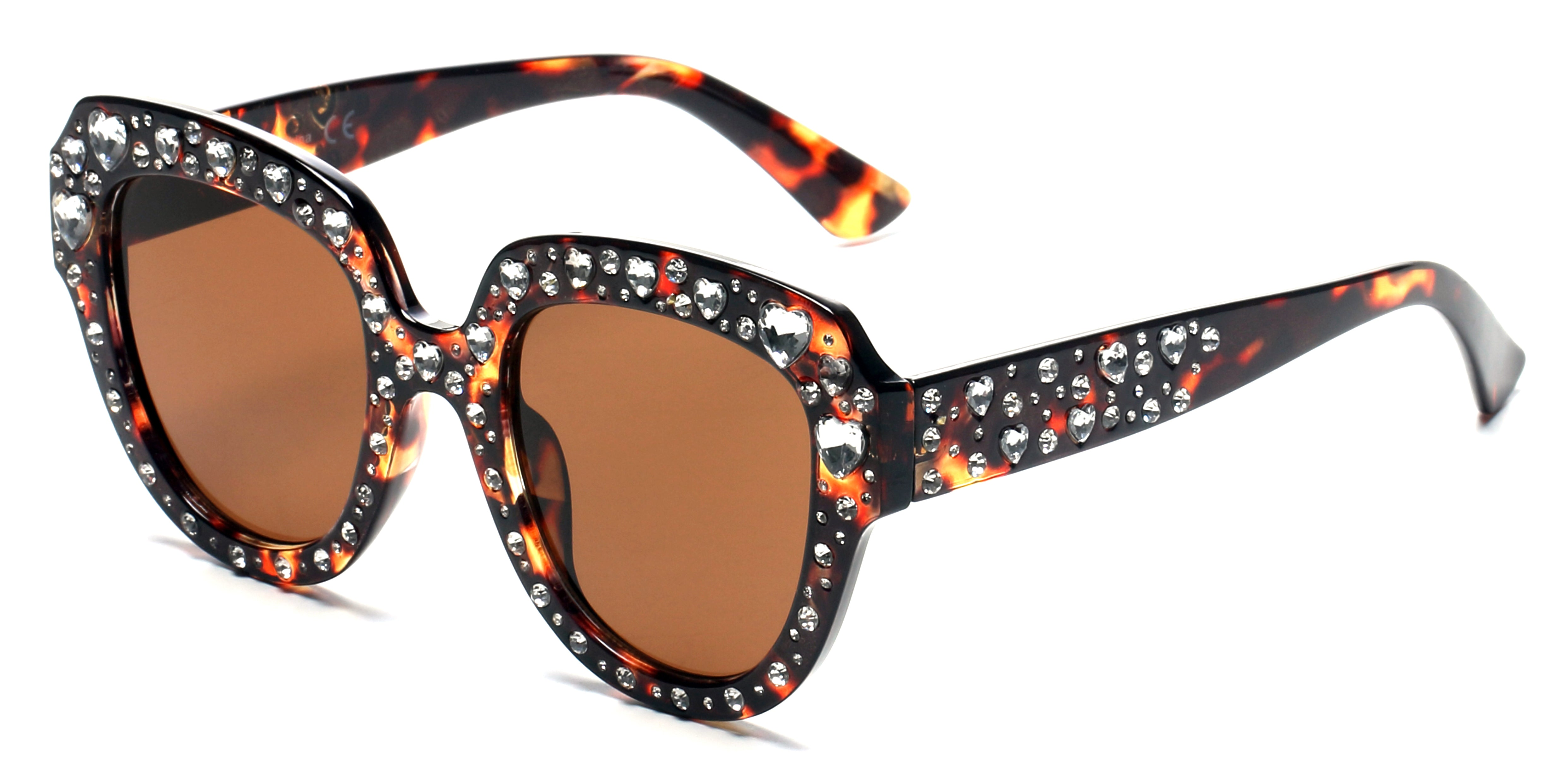 Women Retro Bold Rhinestone Round Cat Eye UV Protection Fashion Sunglasses - Tortoise