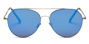 Akcessoryz-Unisex aviator sunglasses with blue lens and gold frame