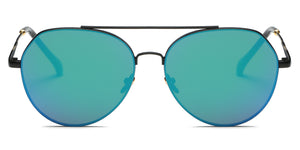 Akcessoryz-Unisex aviator sunglasses with green lens and black frame
