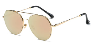 Akcessoryz-Unisex aviator sunglasses with orange lens and gold frame