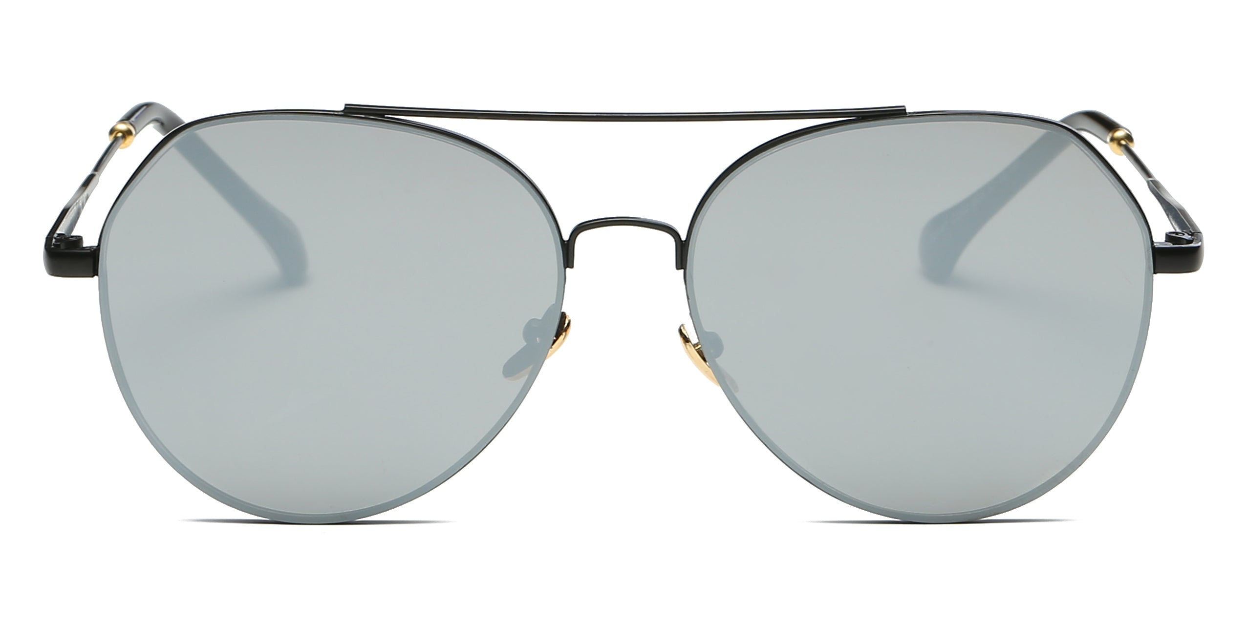 Akcessoryz-Unisex aviator sunglasses with silver lens and black frame