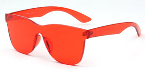 Akcessoryz-Unisex rimless square red sunglasses