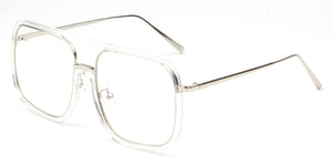 Akcessoryz-Women oversize clear lens with silver frame sunglasses