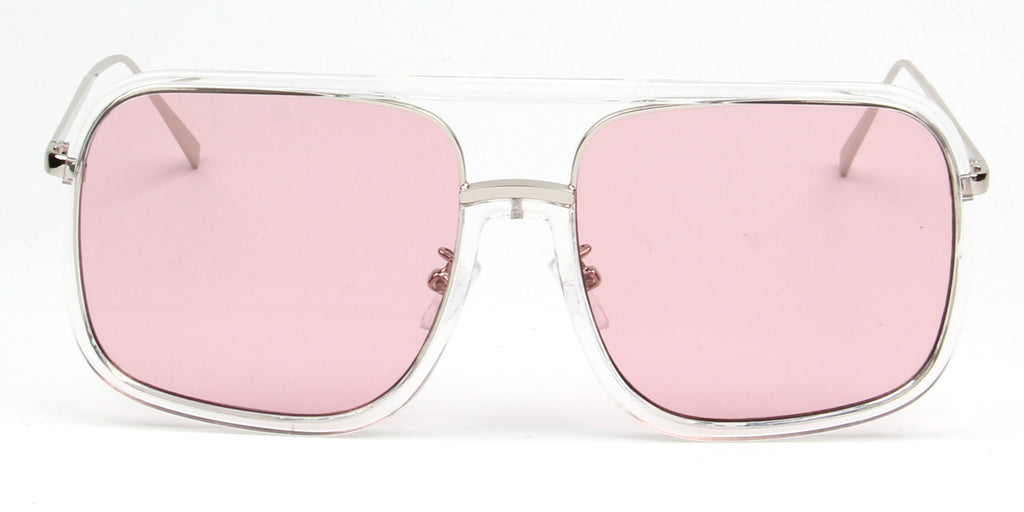 Akcessoryz-Women oversize pink lens with silver frame sunglasses