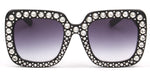 Akcessoryz-Women oversize sunglasses with black frame and purple lens