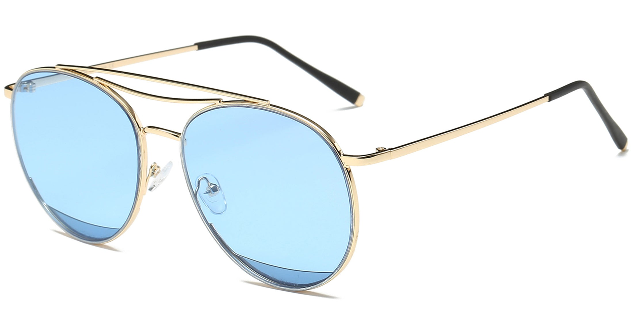 Akcessoryz-Women round blue lens with gold frame sunglasses
