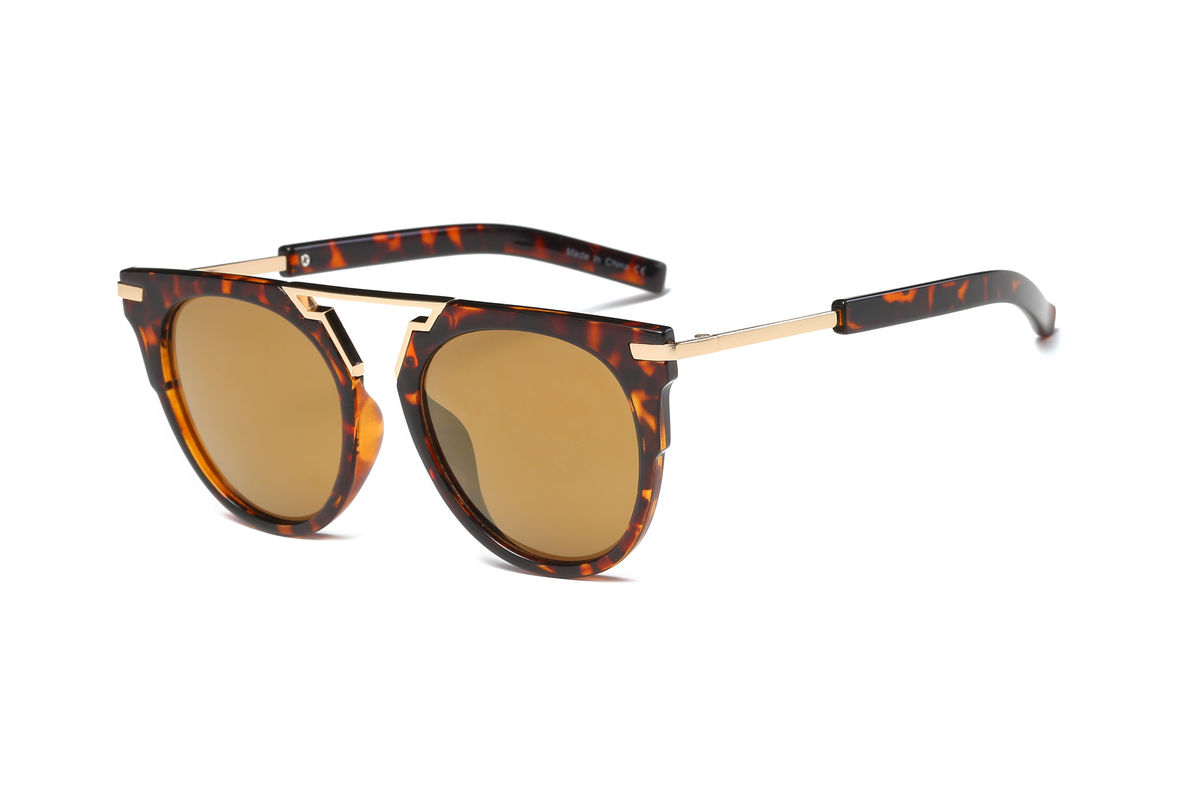 Akcessoryz-Women round browbar sunglasses with amber lens and tortoise frame
