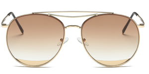 Akcessoryz-Women round brown lens with gold frame sunglasses