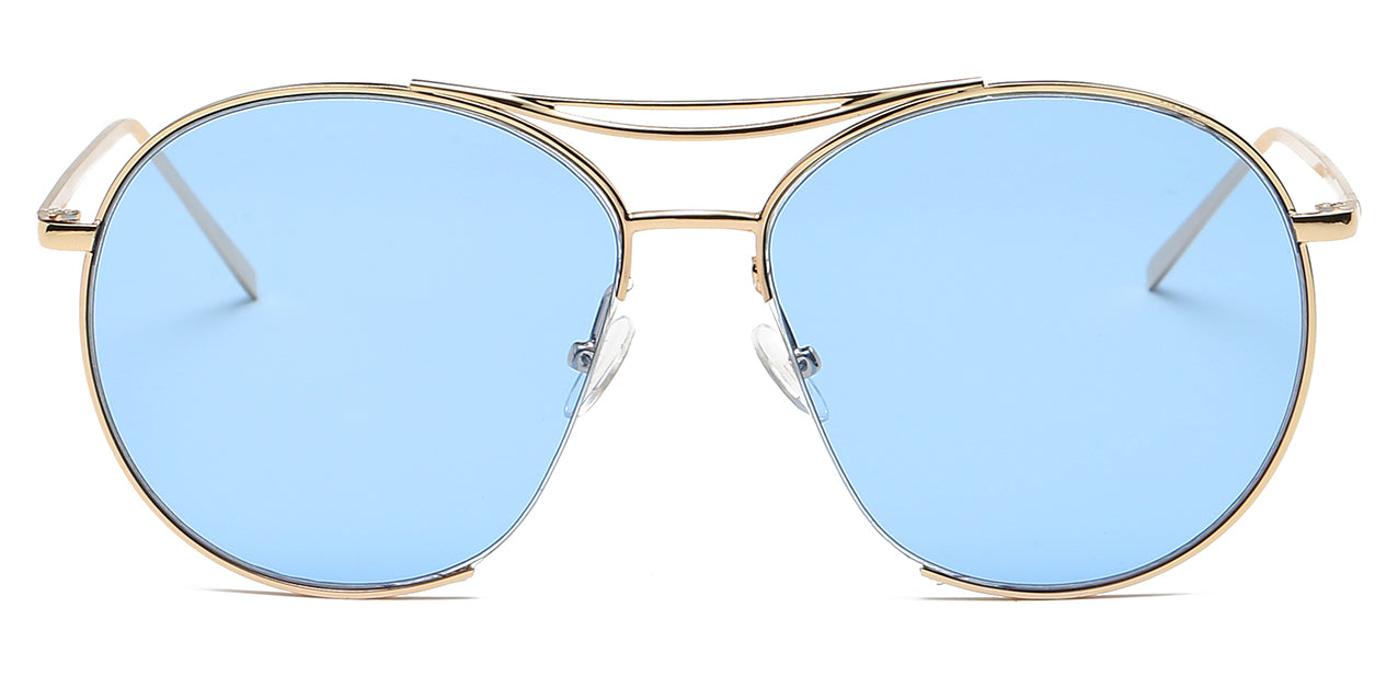 Women round oversize blue lens with gold frame sunglasses
