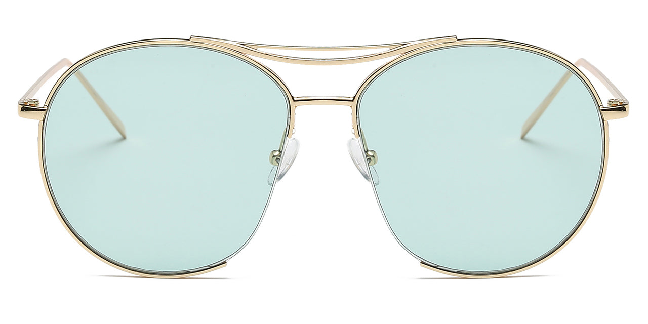 Women round oversize green lens with gold frame sunglasses