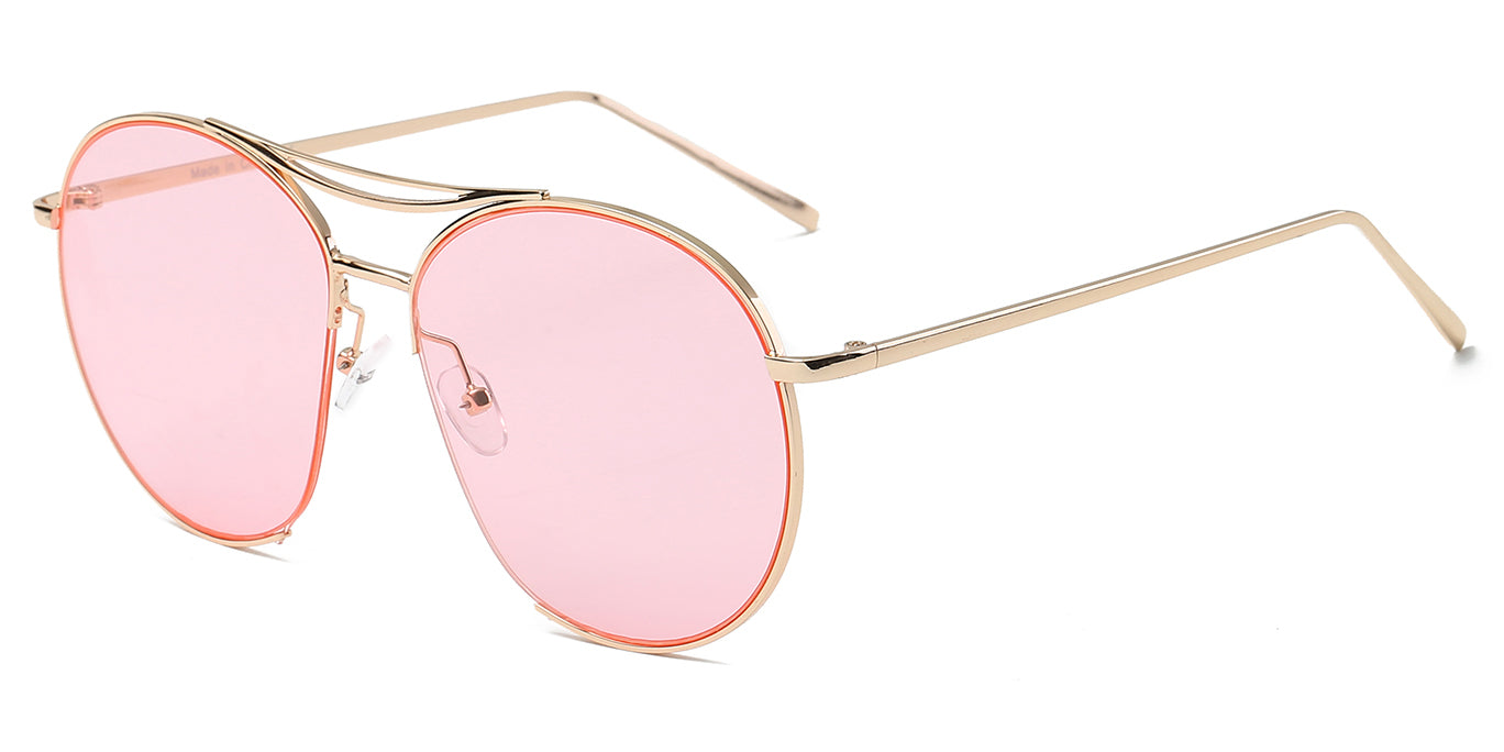Women round oversize pink lens with gold frame sunglasses