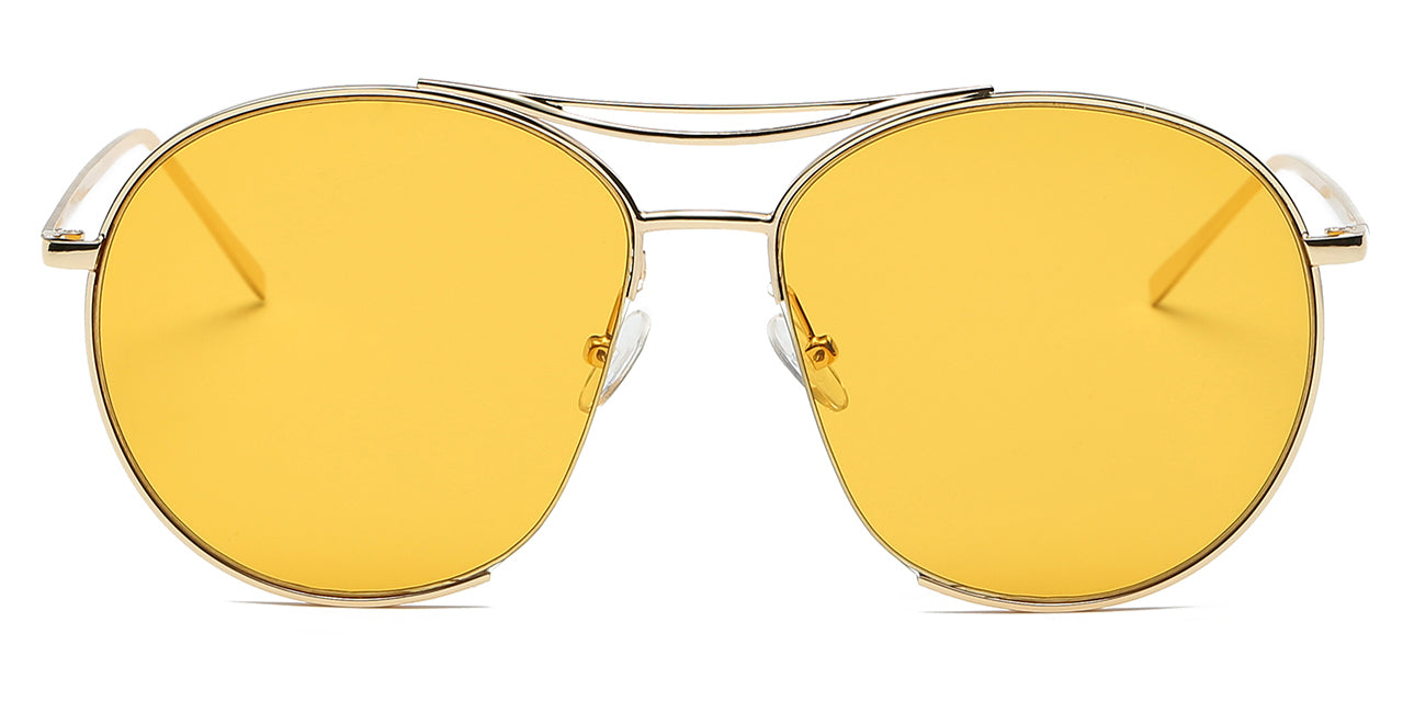 Women round oversize yellow lens with gold frame sunglasses