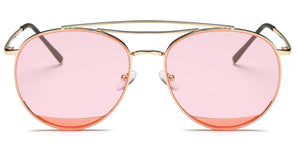 Akcessoryz-Women round pink lens with gold frame sunglasses