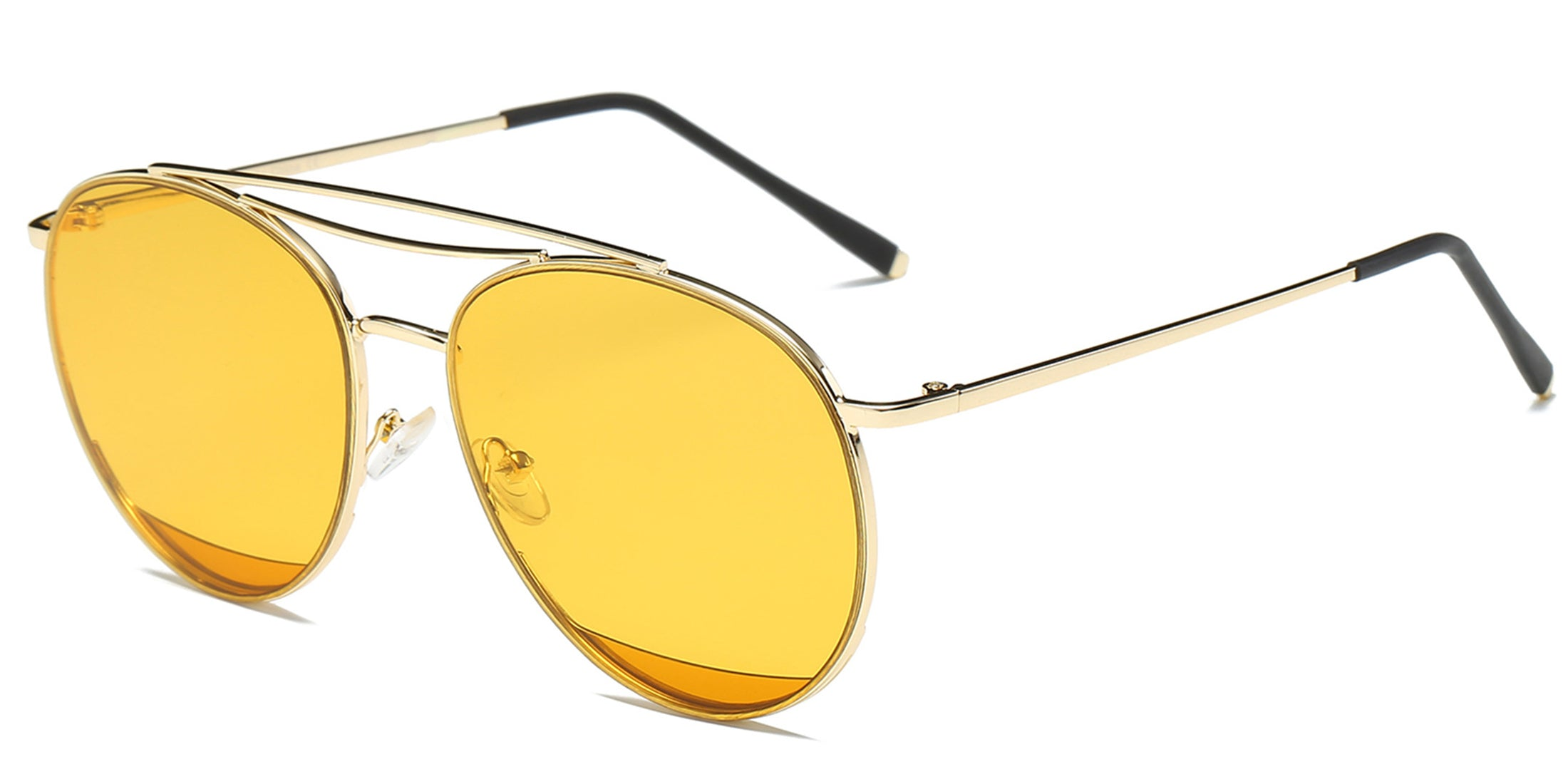 Akcessoryz-Women round yellow lens with gold frame sunglasses
