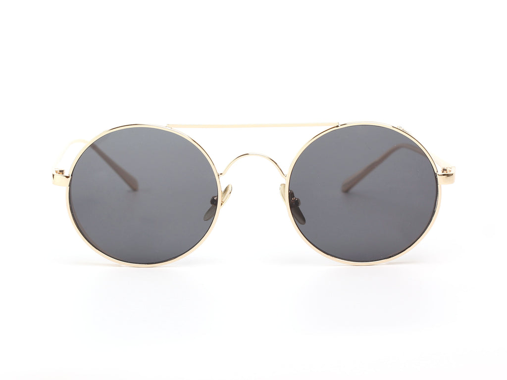Akcessoryz-unisex round sunglasses with black lens and gold frame