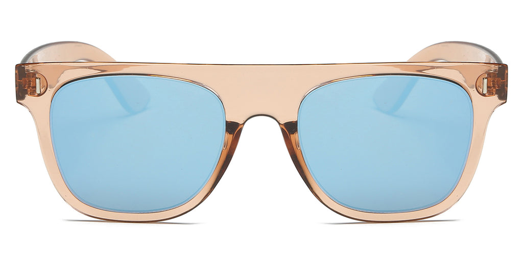Akcessoryz-unisex square sunglasses with blue lens and brown clear frame